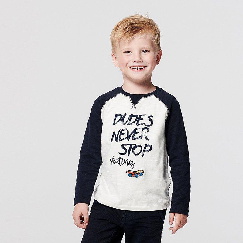 t-shirt manga comprida menino branca azul marinho Planta Kids 1