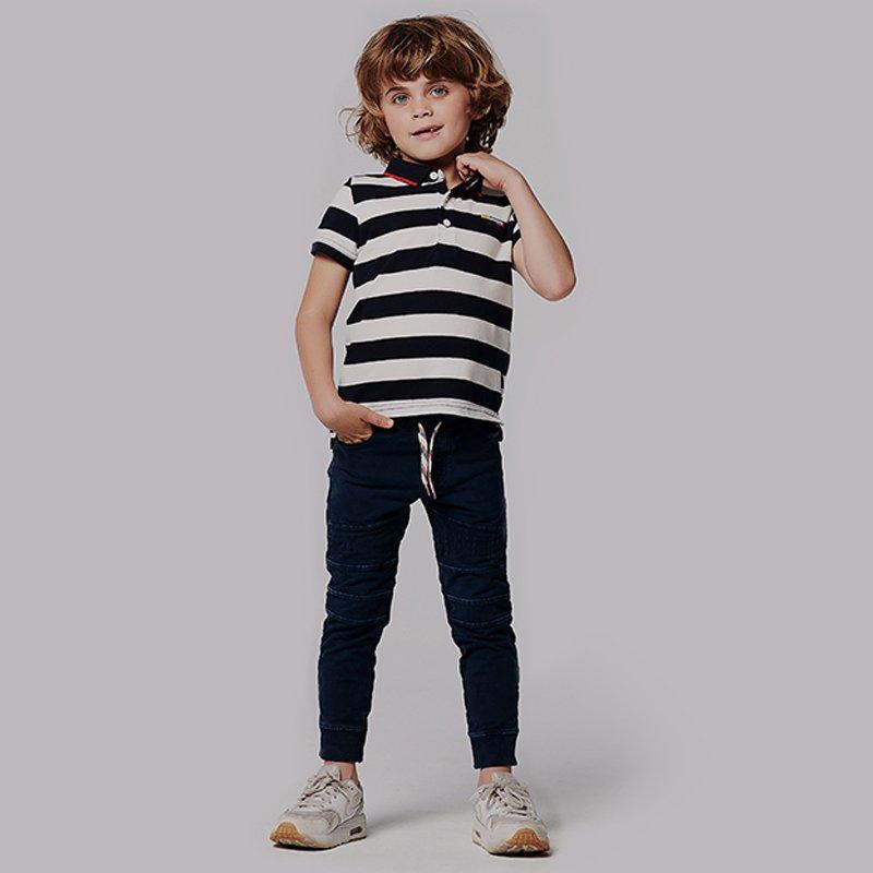 camisa polo menino riscas azul marinho branco Planta Kids 1