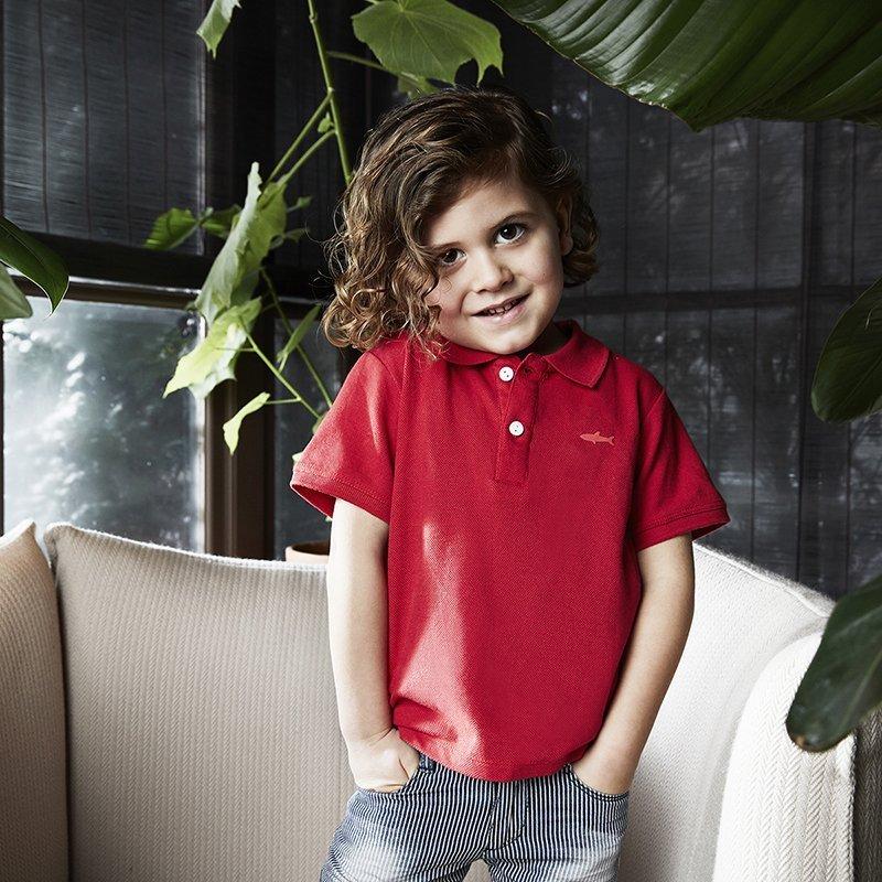 camisa polo menino algodão orgânico vermelha Planta Kids 4