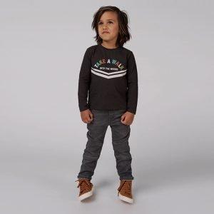 t-shirt manga comprida menino cinzenta algodão orgânico Planta Kids 1