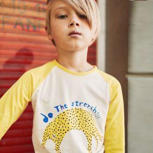 t-shirt manga comprida menino menina algodão orgânico amarela Planta Kids 1