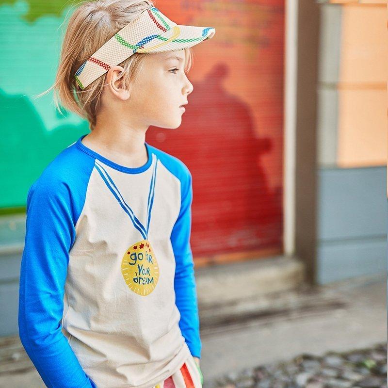 t-shirt manga comprida menino menina algodão orgânico azul Planta Kids 3