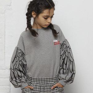 sweatshirt menina cinzenta manga bispo asas Planta Kids 1
