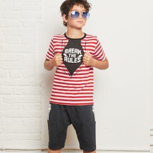 t-shirt menino menina riscas vermelhas break rules Planta Kids 2