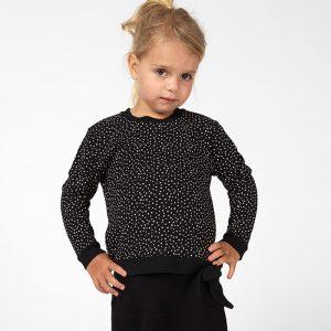 sweatshirt menina preta algodão orgânico laço Planta Kids 1